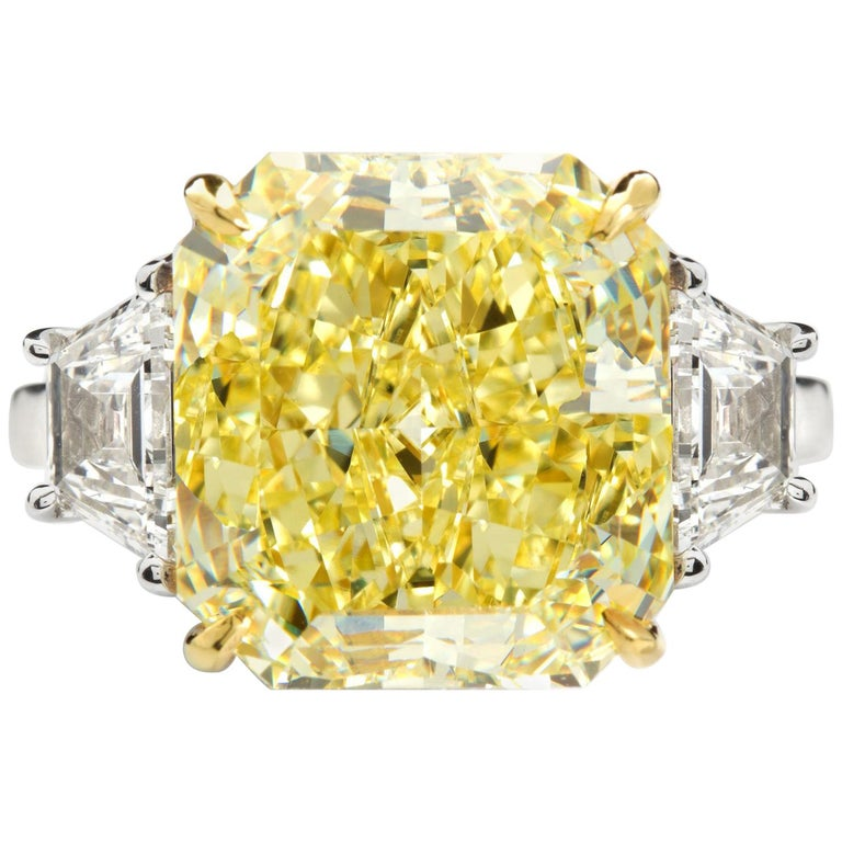 7 Carat Fancy Yellow Radiant Cut Diamond Engagement Ring GIA For Sale