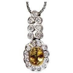 1.19 Carat Natural Yellow Sapphire Diamonds Dangle Pendant 14 Karat