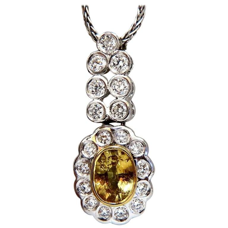 1.19 Carat Natural Yellow Sapphire Diamonds Dangle Pendant 14 Karat For Sale