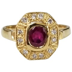 14 Karat Yellow Gold Ruby and Diamond Ring in an Art Deco Style Ring
