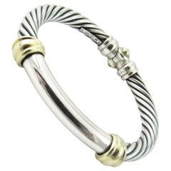 David Yurman Sterling Silver 14 Karat Yellow Gold Hinged Cable Bangle Bracelet