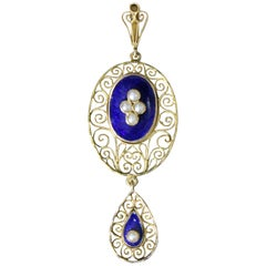 18 Karat Gold Blue Enamel Kristensen Gothenburg 1919 Swedish Pendant