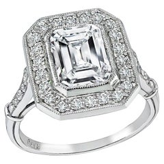 1.94 Carat Emerald Diamond Platinum Engagement Ring