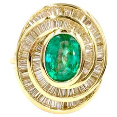 18 Karat Emerald and Diamond Swirl Cocktail Ring