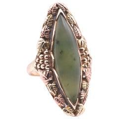 Black Hills Gold 10 Karat Tri-Tone Gold and Jade Ring