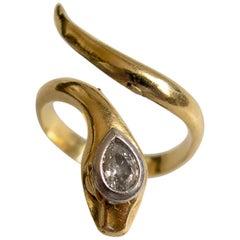 Victorian Gold Diamond Snake Ring