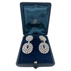 Mario Buccellati 18 Karat White Gold Diamond and Sapphire Drop Earrings