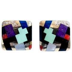 Asch Grossbardt Gold and Geometric Inlay Earclips