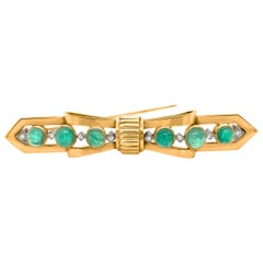 Tiffany 14 Karat Gold, Cabochon Emerald and Diamond Bar Brooch