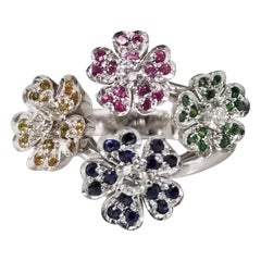 "14 Karat White Gold ""Bouquet"" of Colored Stones Flowers Ring"