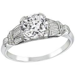 Vintage GIA 1.28 Carat Old Mine Brilliant Diamond Engagement Ring