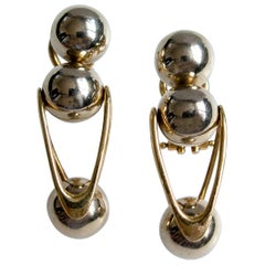 Italian 18 Karat Gold Modernist Earrings