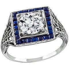 Art Deco 1 Carat Old European Diamond Sapphire Engagement Ring