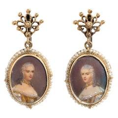 Vintage Portrait Earrings 14 Karat Gold Drops Estate Fine Jewelry Seed Pearls