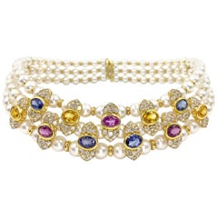 18 Karat Victorian Inspired Pearl, Sapphire and Diamond Choker Necklace