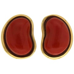 Valentin Magro Tiny Red Coral Gold Bean Shaped Earrings