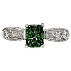 Forest 1.52 Carat Green Tsavorite Engagement Ring with Diamonds 0.82 Carat
