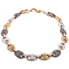 10 Karat Yellow Gold Multicolored Diamond Necklace