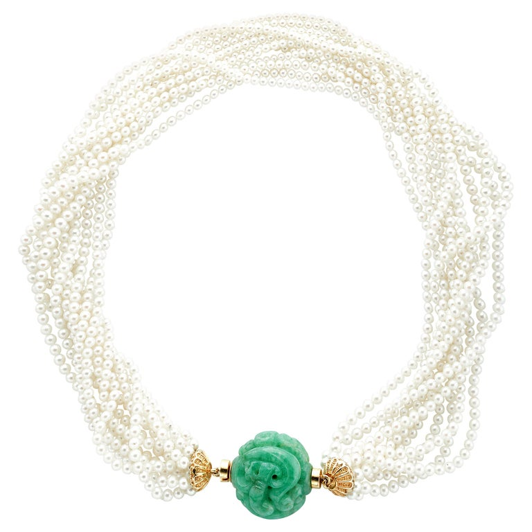 18 Karat Yellow Gold 11 Strand Akoya Pearl Carved Jadeite Necklace For Sale