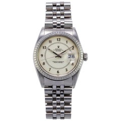 Rolex Steel and White Gold Boiler Gauge Datejust Watch with Papers, 1980s