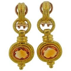 Elizabeth Locke Citrine Gold Earrings