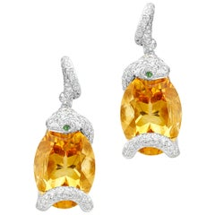 18 Karat White Gold 32 Carat Citrine and Diamond Snake Drop Earrings