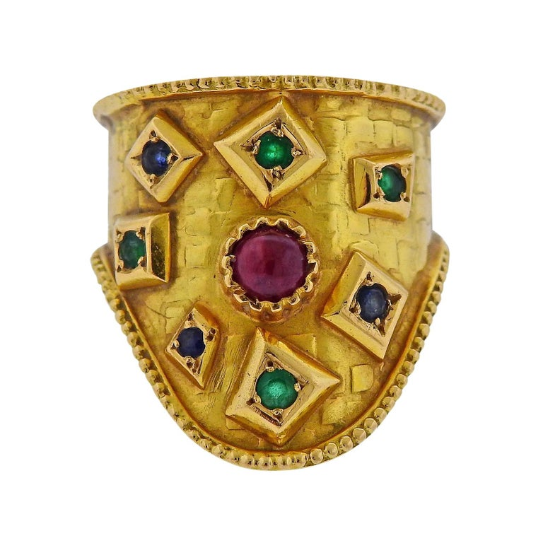 Lalaounis Greece Emerald Sapphire Ruby Gold Ring For Sale