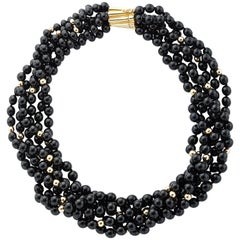 Onyx and 18k Yellow Gold Beaded Strand Necklace