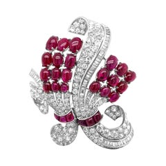 AGL Certified 30 Carat Unheated Burmese Ruby and 11.30 Carat Diamond Brooch