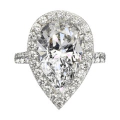 Isabelle 7.83 Carat Pear Cut H Color SI1 Clarity Diamond Ring