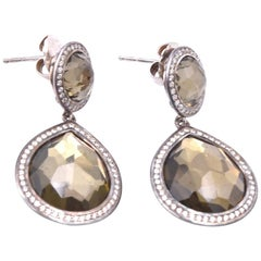 Ippolita Dark Green Rock Candy and Diamond Earrings