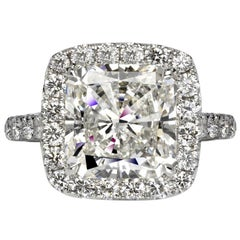 Ava 6 Carat Radiant Cut I Color VVS1 Clarity Diamond Ring '6.89 Carat'