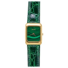 Piaget Vintage Yellow Gold Malachite Dial Quartz Wristwatch