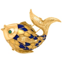 Boucheron Paris, 18 Karat Gold and Enamel Fish Brooch