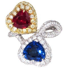 Heart Shaped Ruby and Sapphire Bypass Diamond Ring
