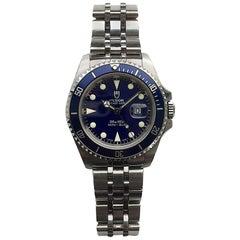 Tudor Stainless Steel Prince Date Blue Mini-Submariner Wristwatch