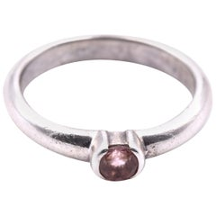 Tiffany & Co. Sterling Silver Morganite Solitaire Ring