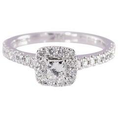 Neil Lane 14 Karat Gold Princess and Round Diamond Engagement Ring .87 Carat