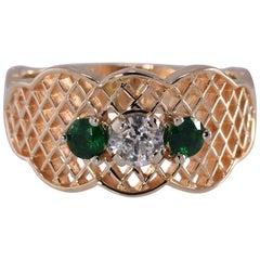 Tsavorite and .29 Carat Diamond Latticework Design Ring, 14 Karat Yellow Gold