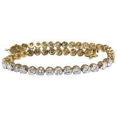 4.50 Carat Natural Diamonds Tennis Bracelet 14 Karat F/G