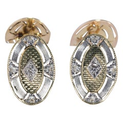 1920s 14 Karat Two-Tone Diamond Cufflinks .08 Carat 6.9 Grams
