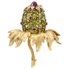 Tiffany & Co . Jean Schlumberger 'Pineapple' Peridot and Ruby Brooch