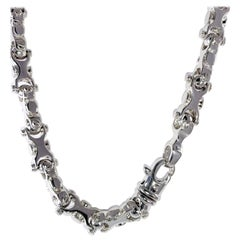14 Karat White Gold Solid Solid Modified Link Chain 20 Inches and 143.0 Grams