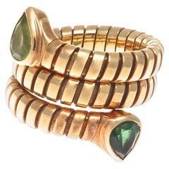 Rare Bulgari Two Headed Tubogas Serpenti Gold Ring