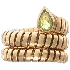 Bulgari Tubogas Serpenti Tourmaline Gold Ring