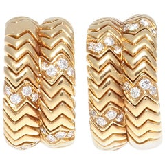 Bulgari Spiga Diamond Gold Earrings