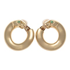 Cartier Panther Emerald Gold Hoop Earrings