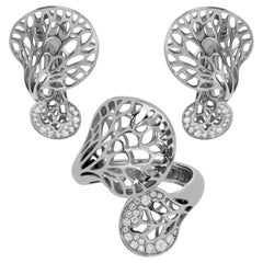 Diamonds 18 Karat White Gold Tree Mushroom Ring Earrings Suite