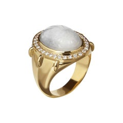 18ct Yellow Gold, Jadeite and Diamond Scarab 'Pharaoh' Ring
