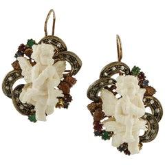 White Hard Stone Lovely Angel, Diamonds, Rubies, Emeralds, Sapphires Earrings